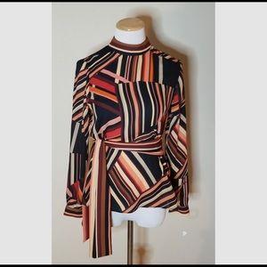 NWT Zara long sleeve high collar blouse with belt